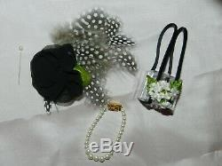Dress of Vintage Black Polished Cotton with Hat Purse Slip Panties for Cissy