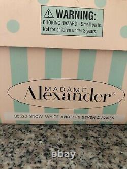 MADAME ALEXANDER 10 SNOW WHITE & SEVEN DWARVES DOLL SET #35520 RARE Display