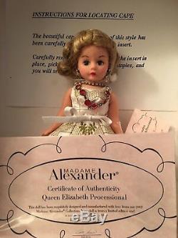 Queen Elizabeth Processional 10'' Madame Alexander 2002 doll, crown & cape