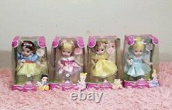 Rare Vintage Brass Key Enchanted nursery Disney Princess Dolls Collection Of 4