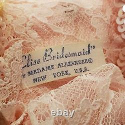 Vintage Madame Alexander ELISE Doll Tagged Bridesmaid Pink Pleated Dress IN BOX